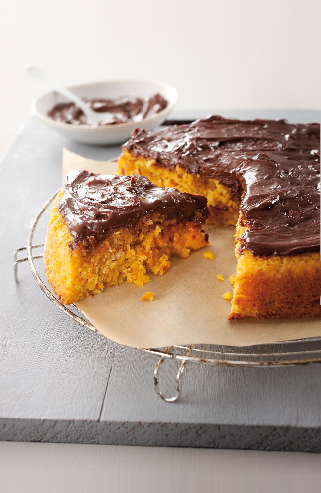 Gâteau à la clémentine, ganache au chocolat