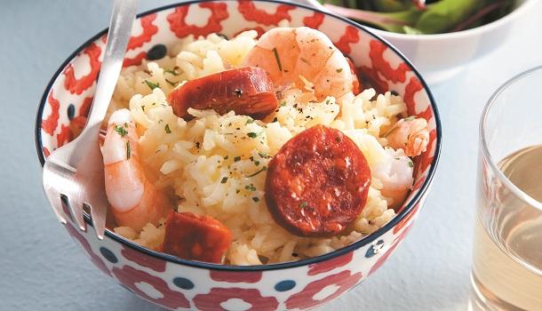 Recette riz pilaf au safran, chorizo & crevettes