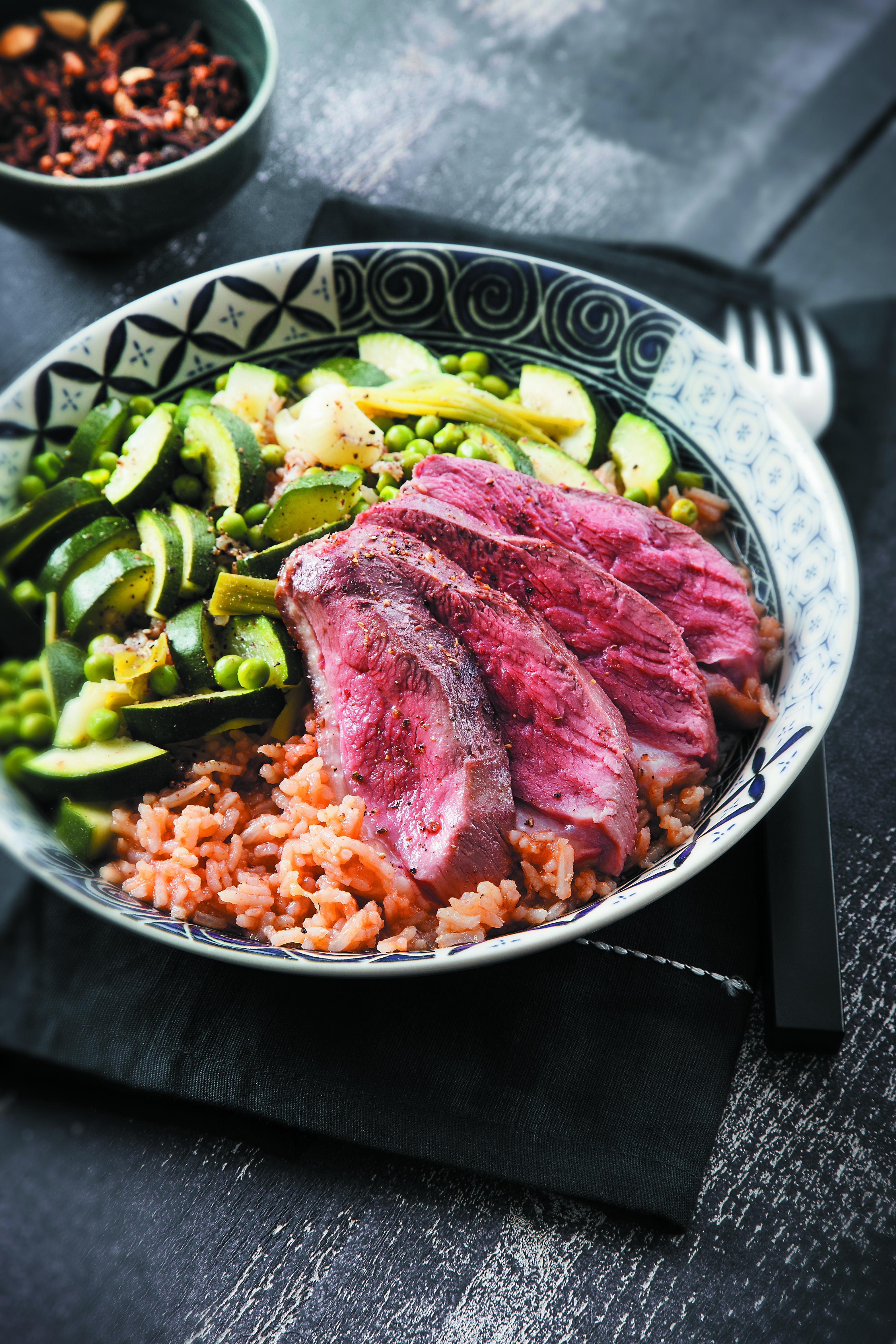 Recette Riz à la vapeur, Canard & Légumes